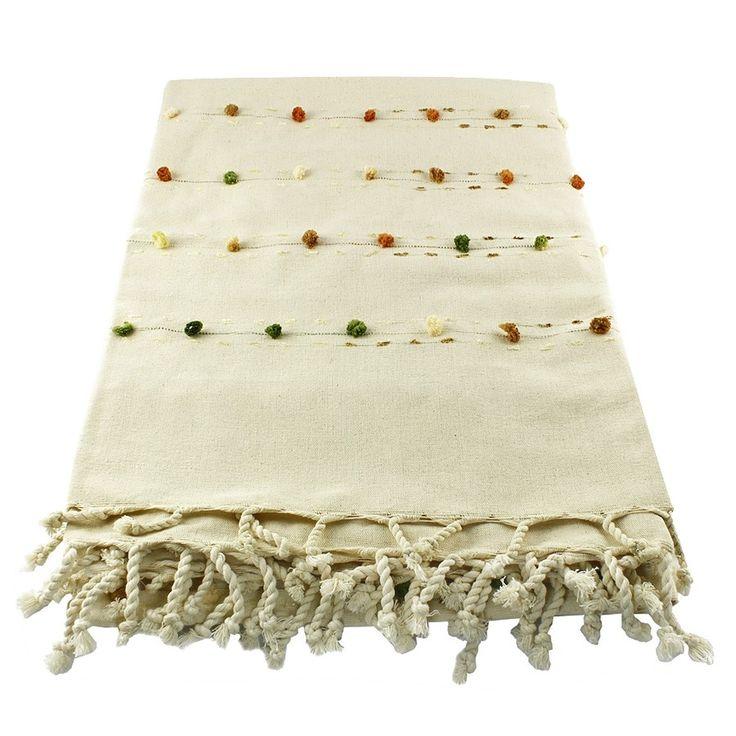 NATURAL HANDMADE TABLE CLOTH WITH POM POM