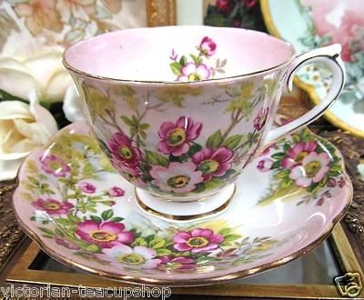 Royal Albert Wild Rose Pattern Tea Cup and Saucer
