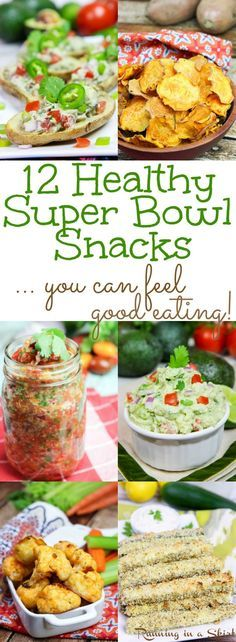12 Healthy Super Bowl Snacks. These are game day recipes and appetizer ideas you can actually feel good eating. The list is made up of clean eating vegetarian recipes with vegan - dairy free options. From appetizer, dips, sauces, treats and sweets- this list has all the food your need for your football party!