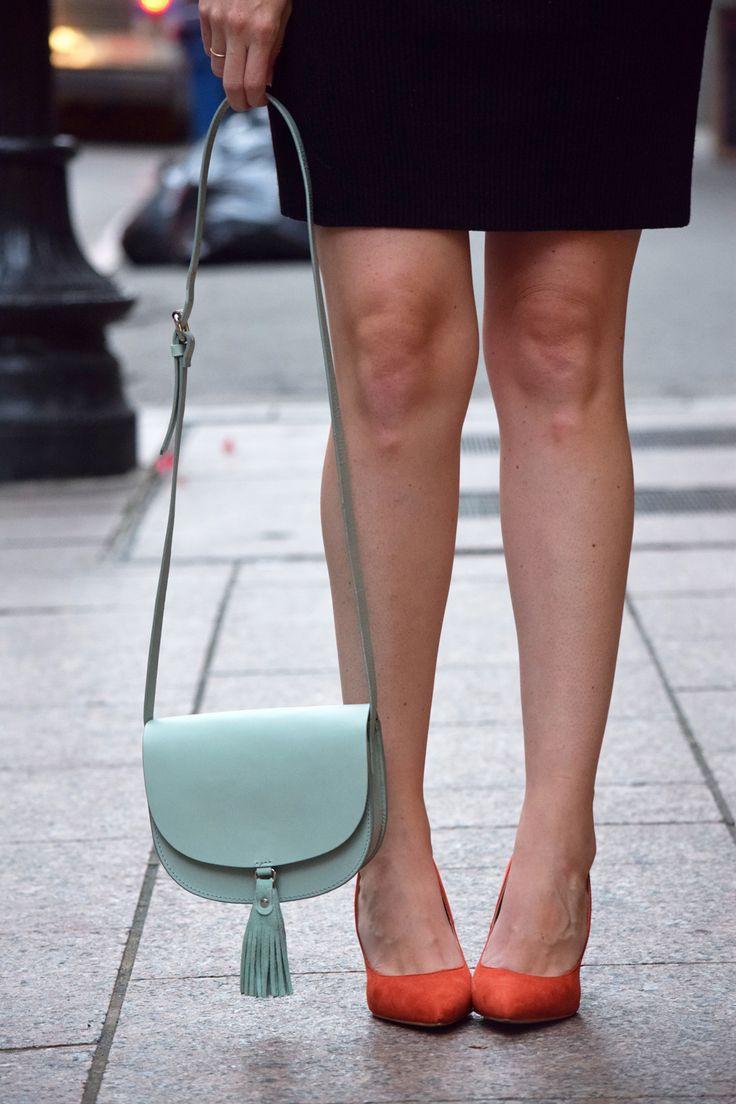 orange suede Primark heels and Zara teal tassel bag