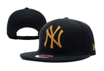 Casquette NY New York Yankees MLB Snapback Noir Or Logo Casquette New Era Pas Cher