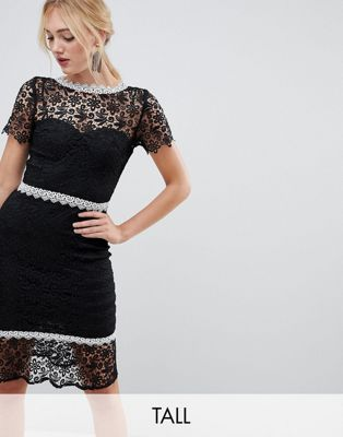 44e409a4026b Paper Dolls Tall lace pencil dress with contrast lace trim and peplum hem  in black