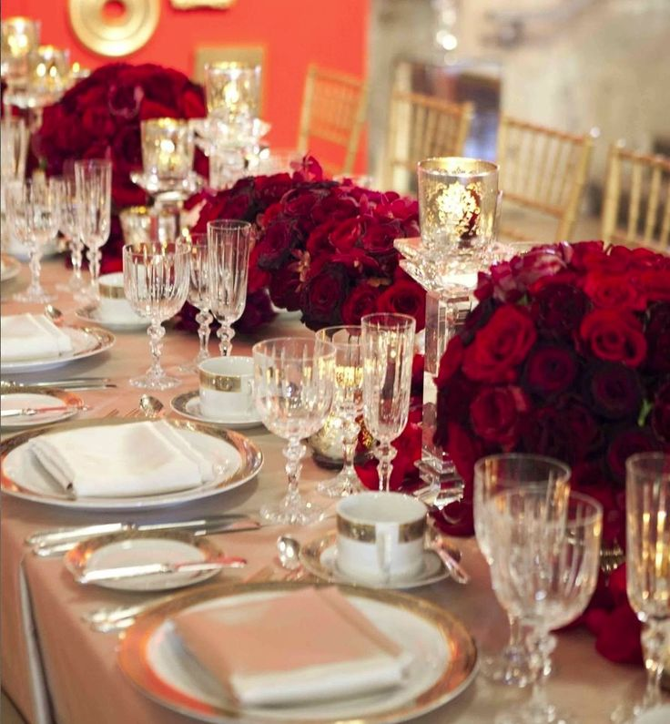 Red And Ivory Wedding Reception Decorations Choice Image - Wedding ...