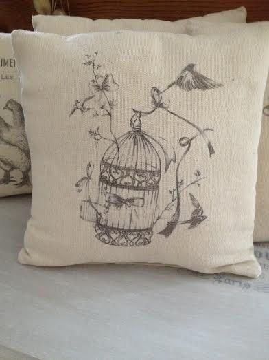 """Vintage Cushion with Provencal Style """" Bird cage"""" by ByBeeSee on Etsy"""
