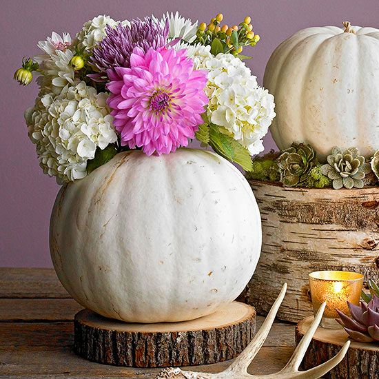 We love the colors in this gorgeous white pumpkin vase! Find more cozy fall crafts here: http://www.bhg.com/thanksgiving/crafts/cozy-fall-crafts/?socsrc=bhgpin091414whitepumpkinvase&page=2