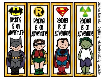 SuperHero Themed Bookmarks - 8 Designs