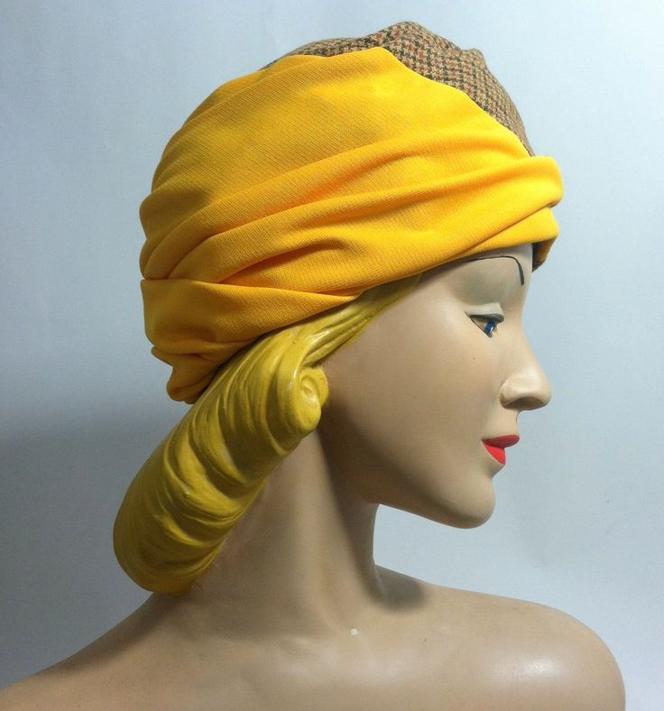 Tweed and Goldenrod Draped Turban Knit Hat circa 1960s Dorothea's Closet Vintage Hat