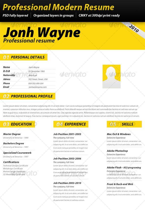 professional modern resume resume design