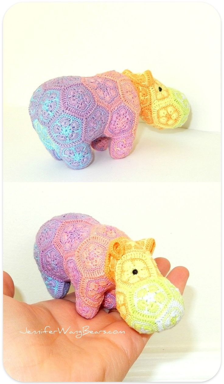 "Rainbow crochet african flower hippo by Jennfer Wang Bears (original design by Heidi Bears ""Happypotamus"")"