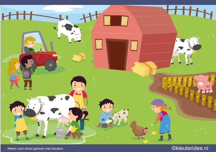 Praatplaat boerderij voor kleuters, kleuteridee , thema boerderij, preschool farm theme.