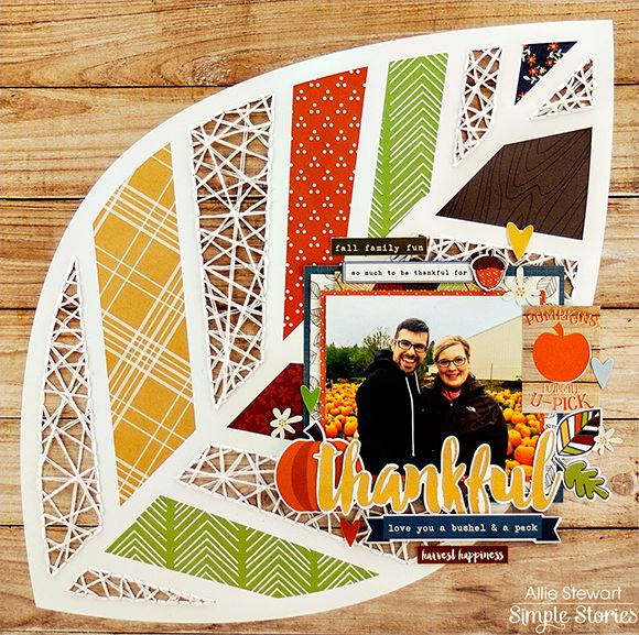 Thankful For ... scrapbook layout by Allie Stewart for Simple Stories