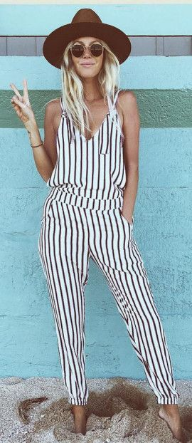 Laid back striped jumpsuit - off duty laid back summer outfit