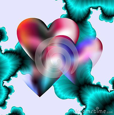 Hearts and blue fractals in lots of transparencies as combined background for Valentine's supports.