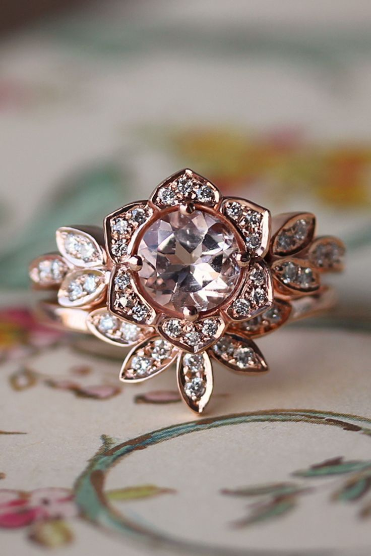 Unique Tourmaline Engagement Ring and Wedding Ring Set Vintage Lily Ring Unique Engagement Ring