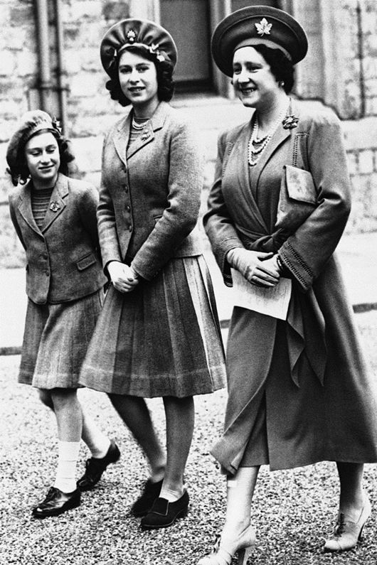Queen Elizabeth (The Queen Mother) with her daughters, Princess Elizabeth (Queen Elizabeth II) and Princess Margaret