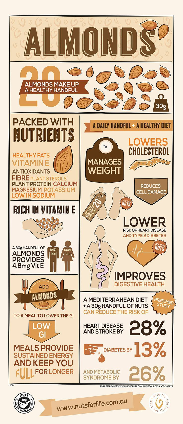 Did you know that almonds are packed with antioxidants and fibers? This infograp…