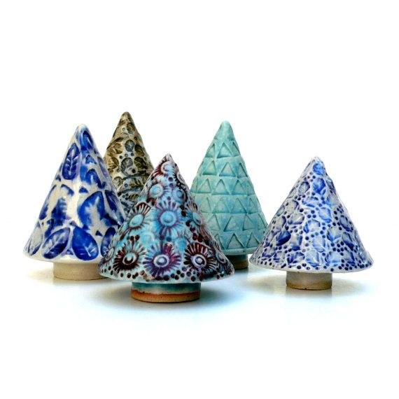Blue And White Ceramic Tree, Holiday Decor by BlueMagpieDesign