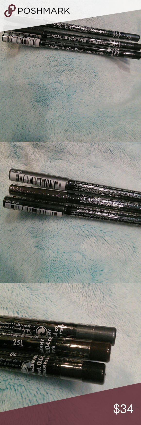 3 NEW Makeup Forever Waterproof Eyeliner Pencils Brand new in original packaging  Waterproof Eyeliner Pencils  Comes with: Black Grey Dark brown  *NO TRADES!!* Makeup Forever Makeup Eyeliner