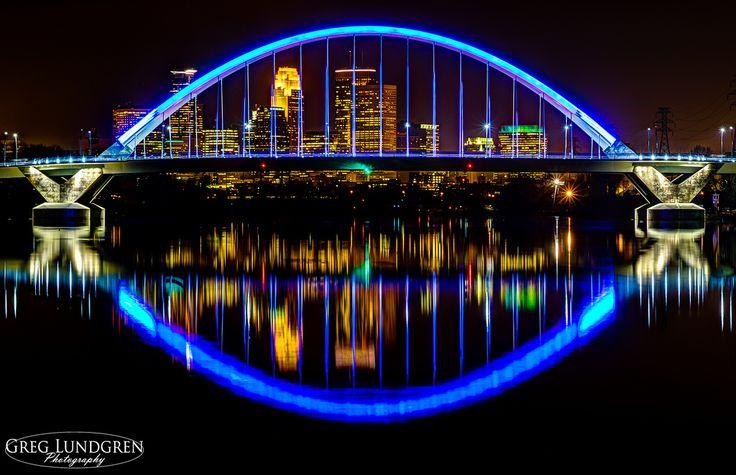 stuffaboutminneapolis: Minneapolis skyline through the Lowry Avenue bridge via Greg Lundgren