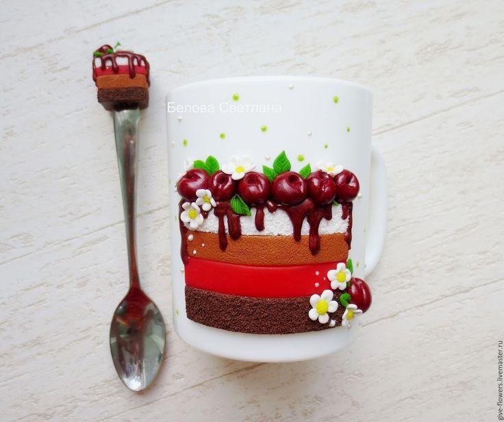 Купить Кружка ложка Вишнёвый торт - бордовый, белый, кружка на заказ, кружка в подарок