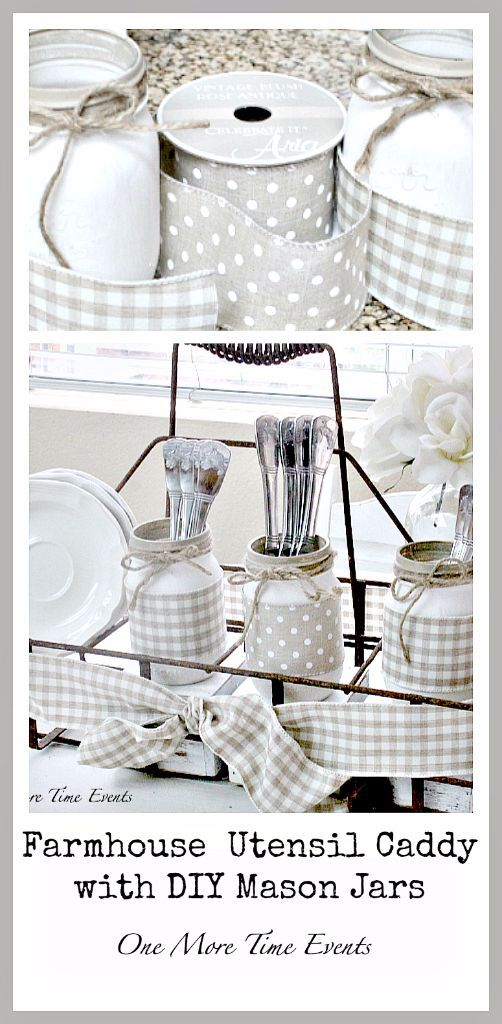 Farmhouse utensil caddy with diy mason jars. This would be really cute for a rustic wedding or party!