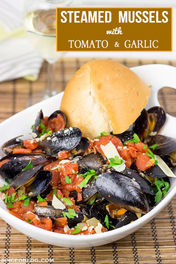 Steamed Mussels in Tomato and Garlic Broth
