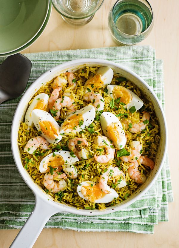 Prawn kedgeree. Kedgeree is really quick and easy but delivers on comfort. The spicy rice, juicy prawns and boiled eggs come together in a great balance of flavours. It's perfect for a midweek meal