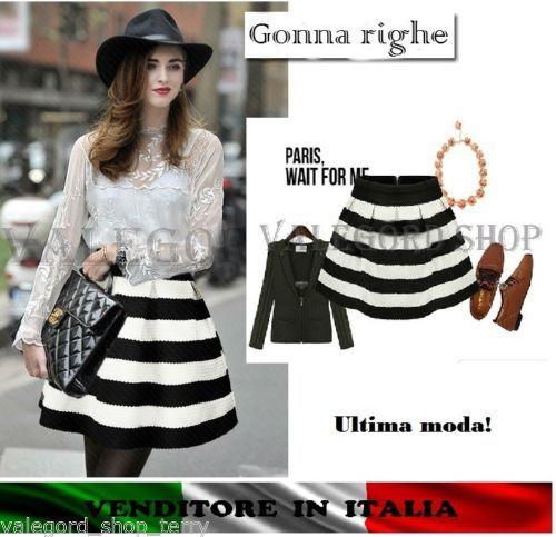 Gonna-righe-bianco-nero-mini-S-M-L-Tulipano-QUALITA-elegante-rock-jupe-strisce