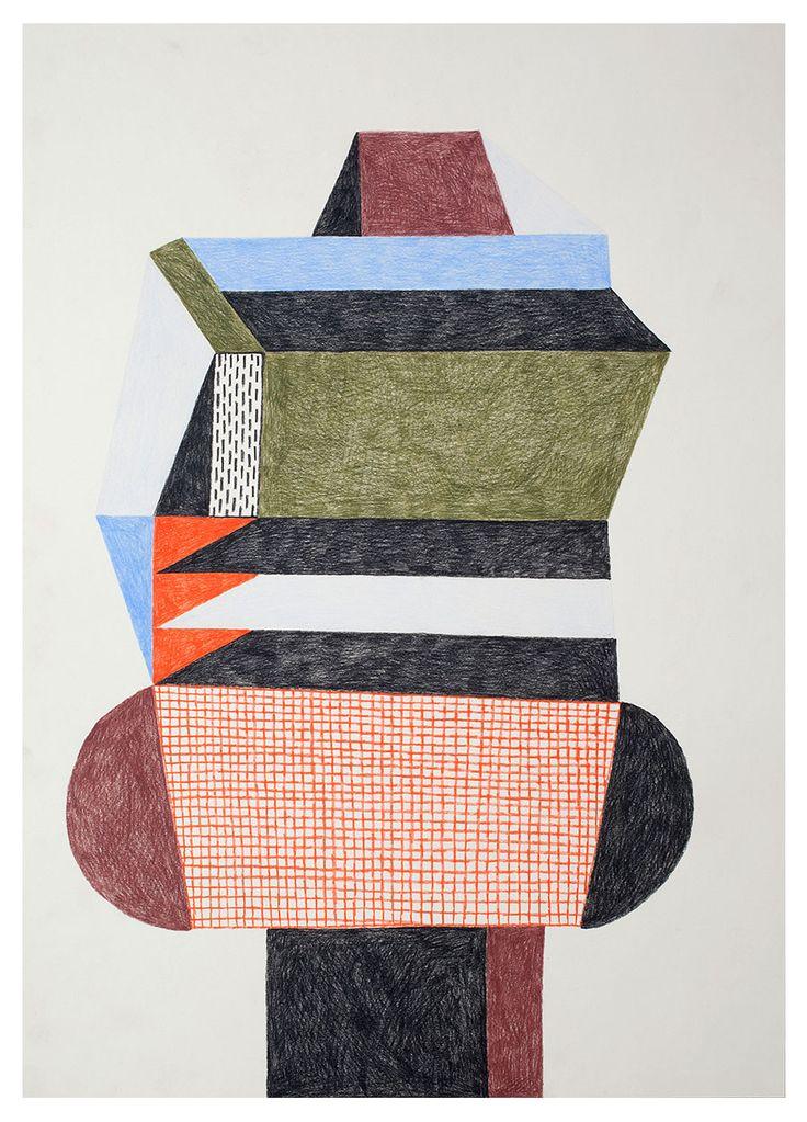 dessin : Nathalie Du Pasquier, 2013, femme artiste française, formes abstraites géométriques
