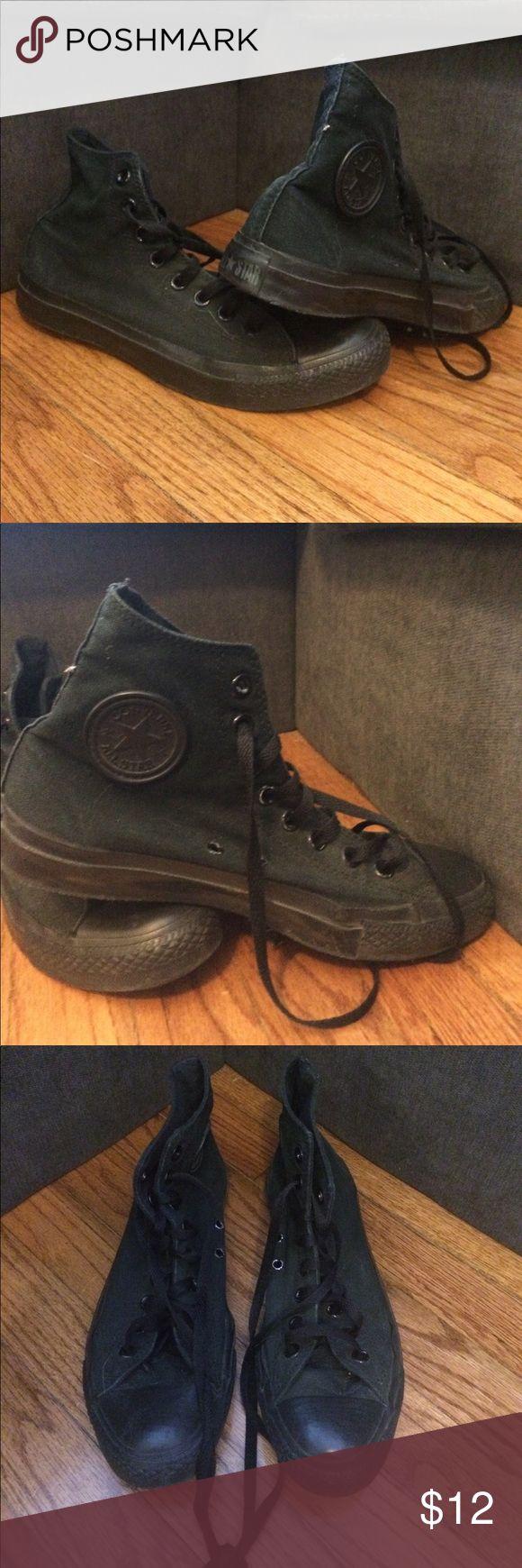 Men's black Chuck Taylors Men's black canvas Chuck Taylors high tops. Regular wear with lots of life left. Size 7 1/2 Converse Shoes