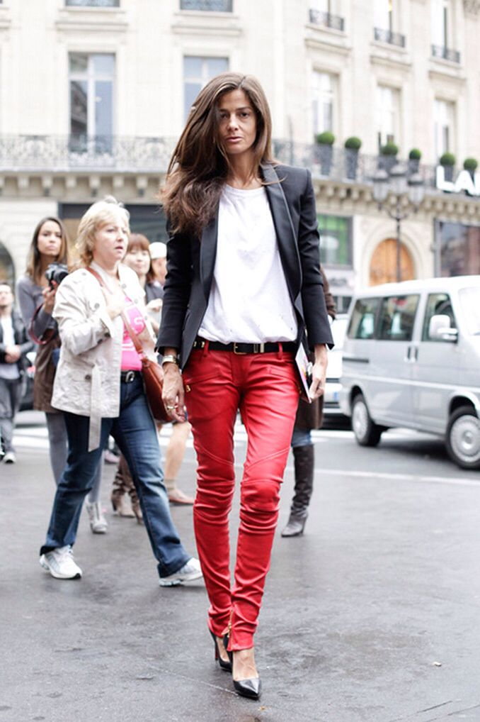 Rode leren broek