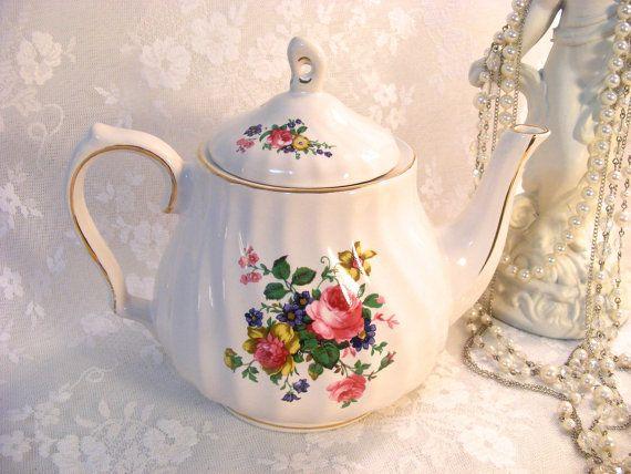 White Porcelain Rose Floral Teapot Salem China by DenimRoseVintage