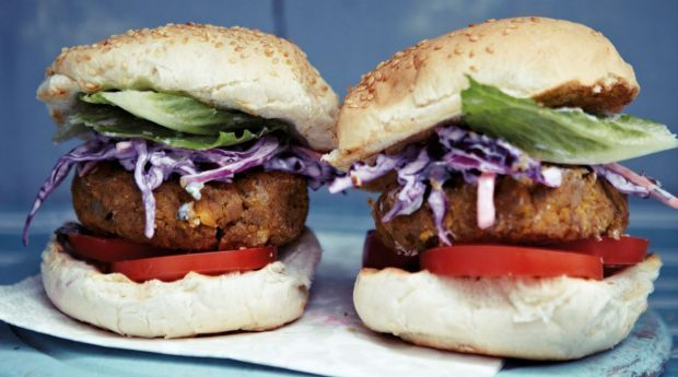 Chickpea burgers with Indian purple coleslaw Anjum Anand vegetarian recipes from Anjum's Indian Vegetarian Feast.