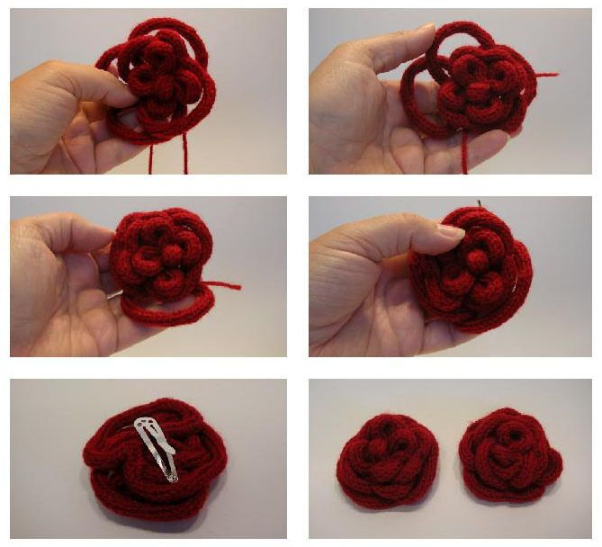red rose french knitting brooch wool hair clip tutorial 2nd part