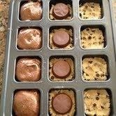 It's Love In A Pan...Three ingredients, and you will look like a pro! Preheat oven to 350; Pat 1.5 squares of break-apart refrigerated cookie dough into the bottom of each cupcake well. Place Reese's Peanut Butter Cup upside down on top of cookie dough. Top with prepared box brownie mix, filling 3/4 full. Bake for 18 minutes.: Cookies Dough, Chocolates Chips, Squares, Places Ree, Boxes Brownies, Cookie Dough, Cups Brownies, Ovens, Peanut Butter Cups
