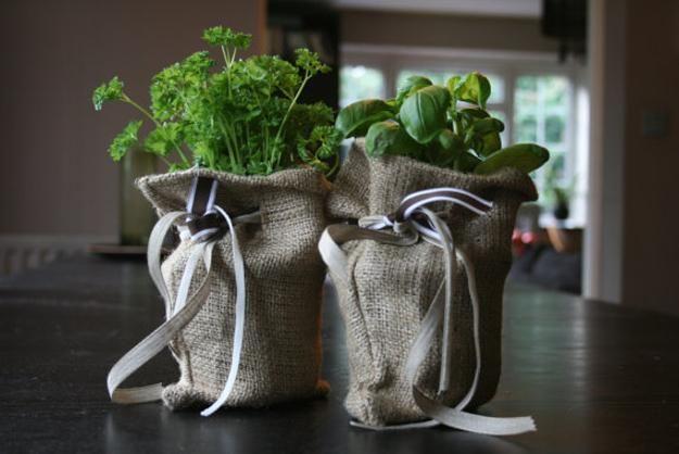 Burlap bags with edible herbs.