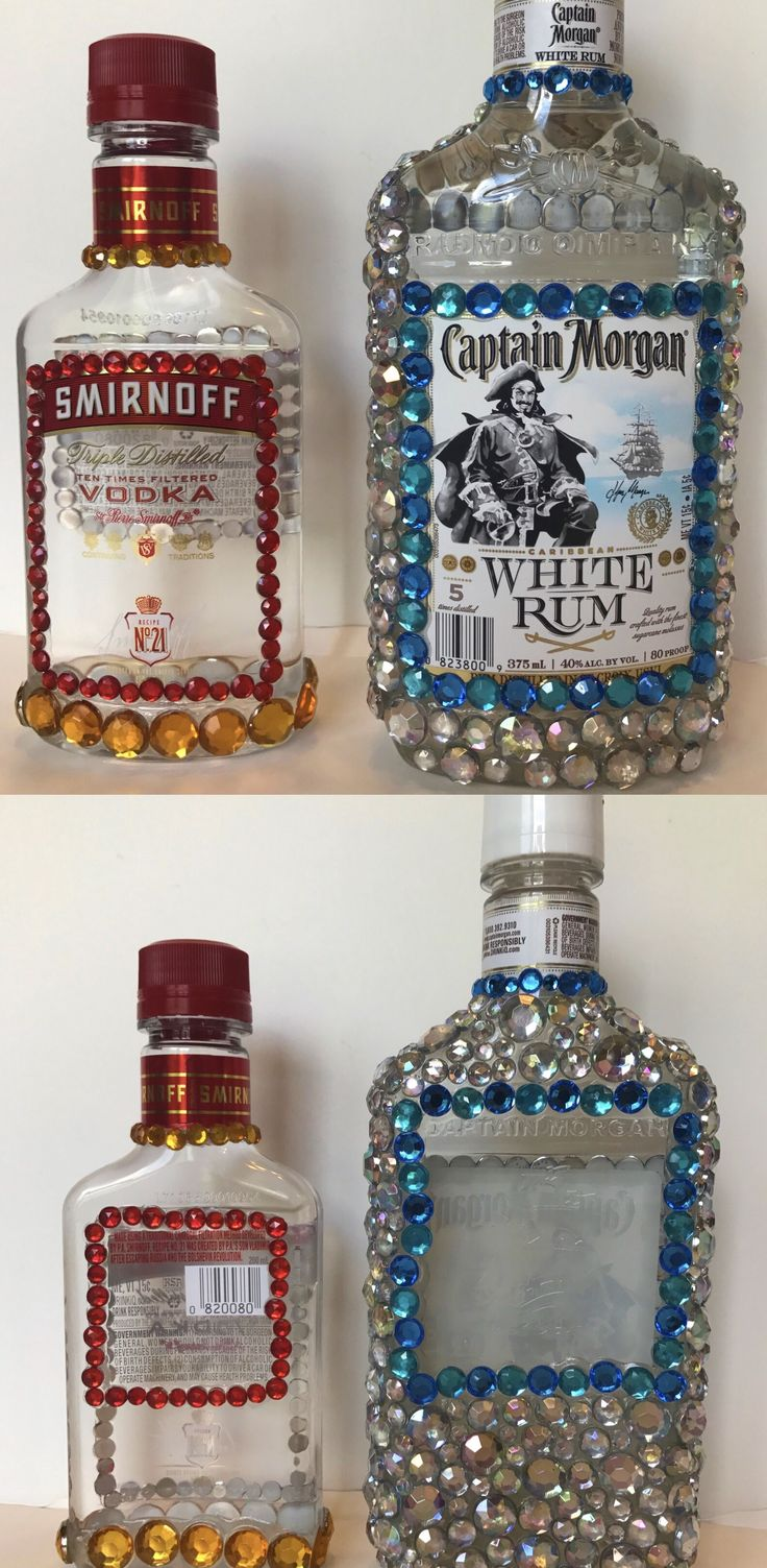 Bedazzled these Smirnoff and captain Morgan bottles for my friends 21st birthday. Use Gem Tac glue. Works great and drys clear. <3