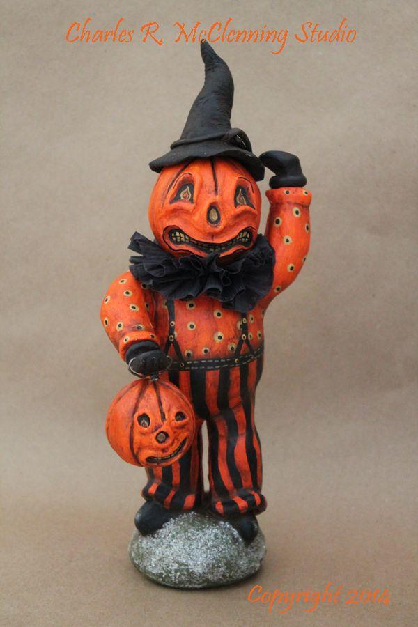 original folk art halloween design by cthe pumpkin man