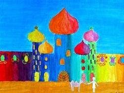 Cecilien-Gymnasium - Orientalische Stadt - Deckfarbenmalerei zum Kalt-Warm-Kontrast