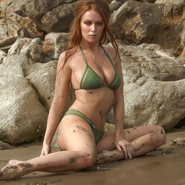 You sense that? Yeah us too!  @leannadecker_  always leaves us tingling in her #TeenyB #bikini #army #green #redhead
