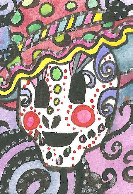 Day of the Dead ACEO Sugar skull Painting Sugar skull Illustration Watercolor Acrylics Mixed Media ACEO Mexican Celebration Sugar Skull Art