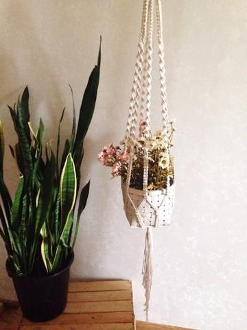 A simple and beautiful Macrame planter hanger from East Perry. Tania Hanger with / or without Basket (macrame plant hanger). Perfect for your modern home interior, boho home and decor, or nursery decor. Check the link for full product info.