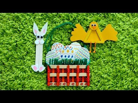Easter Popsicle toys Basket Chicken Bunny ice cream sticks art craft kids play fun idea diy tutorial