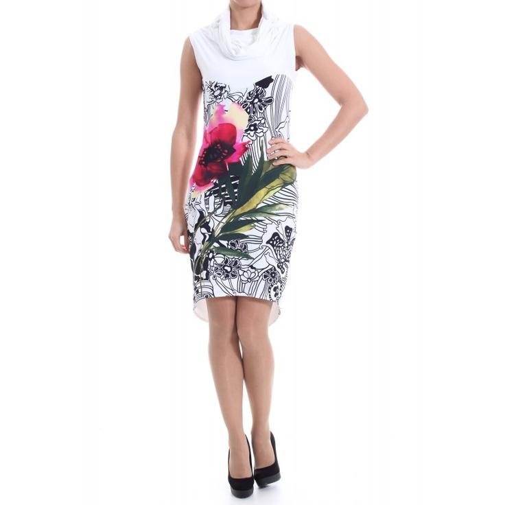 Rochie alba fara maneci cu print floral