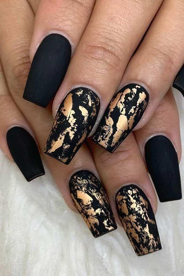 Matte Black Nails With Gold Foil Mattenails Black Foil Gold Matte Black Blacknail Foil G In 2020 Gold Nail Designs Golden Nails Designs Black Gold Nails