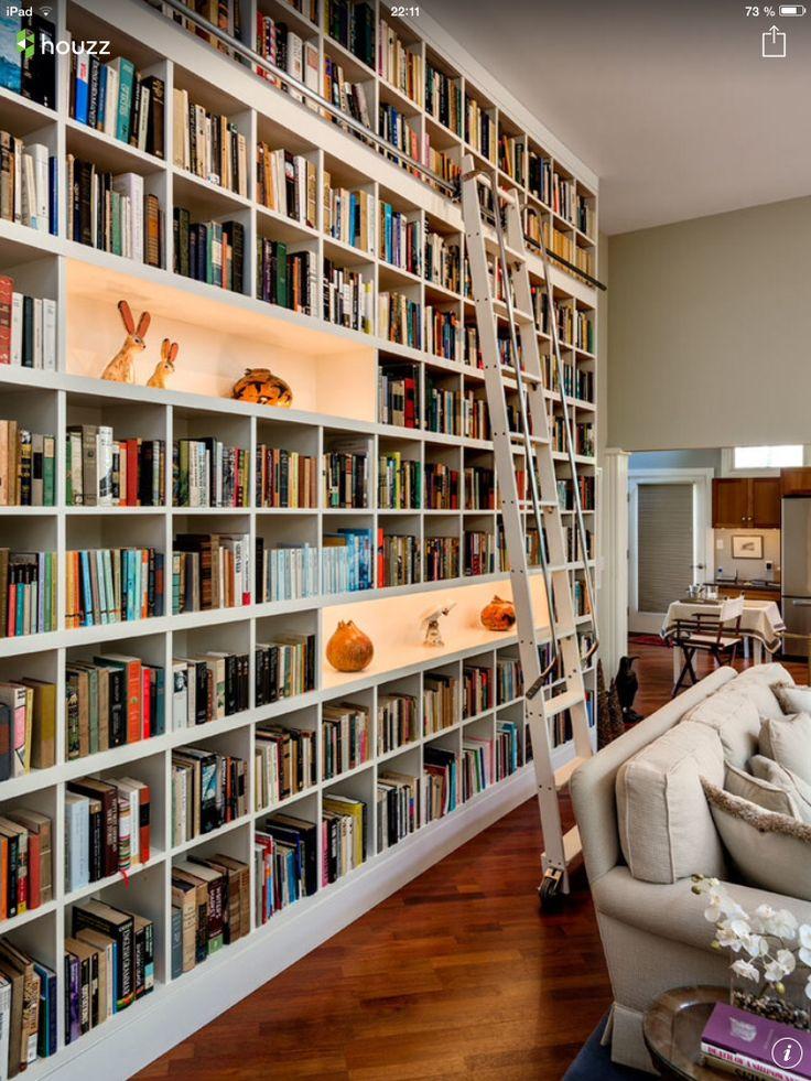 Bibliothèque salon avec points lumineux