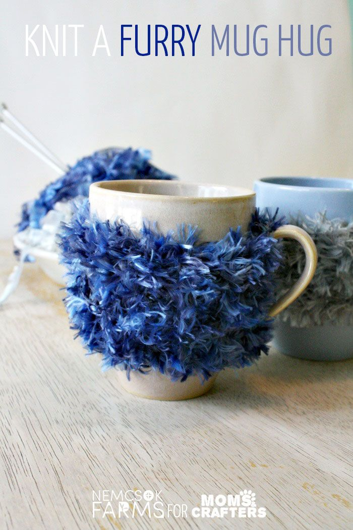 make a furry mug hug to upgrade your drink! this DIY coffee mug cozy is a great beginner knitting tutorial and an easy project to learn to knit with! And it's so super funky too...
