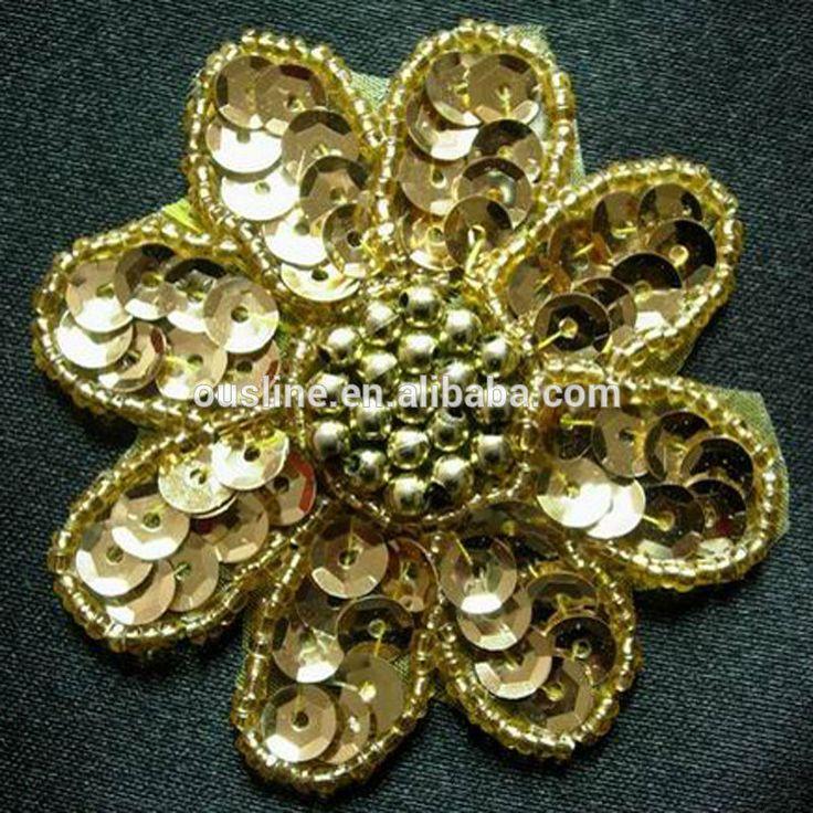 Lentejuelas bordado de la flor del diseño, Mano apliques de perlas