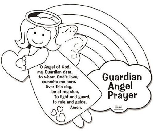 Amazon.com: Color Your Own Guardian Angel Prayers Arts & Crafts Coloring Sheet for Kids: Toys & Games