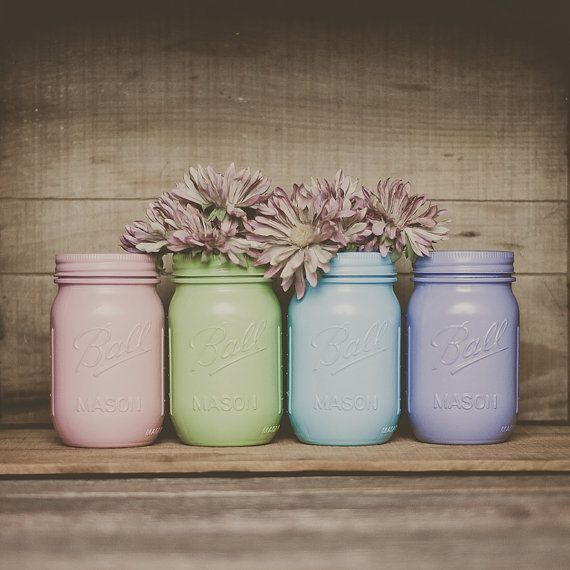 Painted mason jars. Easter decor.